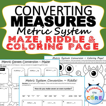 CONVERT METRIC UNITS OF MEASURE Maze, Riddle & Color by Number (FUN ACTIVITIES)