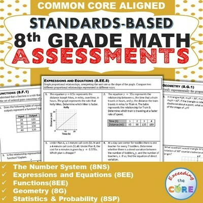 8th Grade Math Standards Based Assessments BUNDLE Common Core