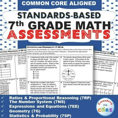 7th Grade Math Standards Based Assessments BUNDLE Common Core