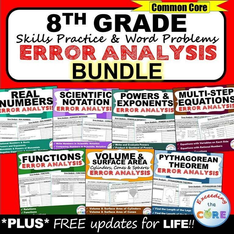 8th Grade Math ERROR ANALYSIS (Find the Error) BUNDLE