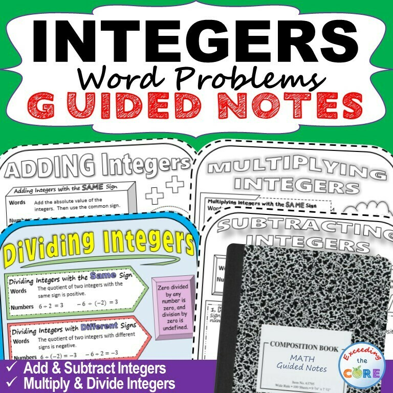 INTEGERS Doodle Math - Interactive Notebooks (Guided Notes)