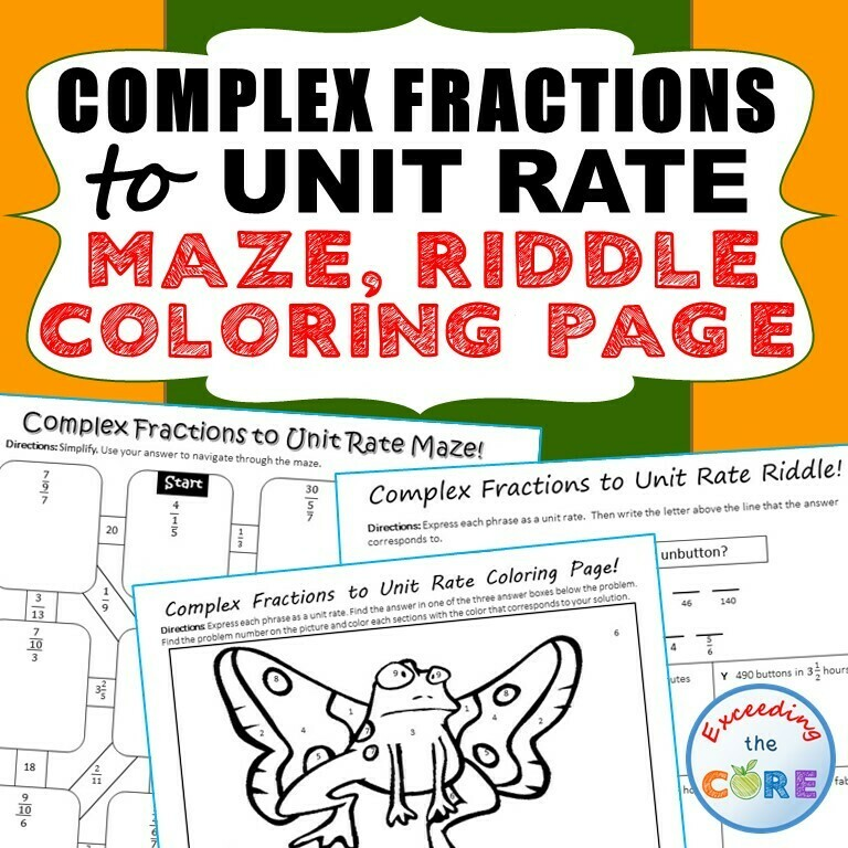 COMPLEX FRACTIONS to UNIT RATE Maze, Riddle, Coloring Page by Number Activities