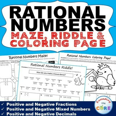 RATIONAL NUMBERS Maze, Riddle & Color by Number Coloring Page Math Activity