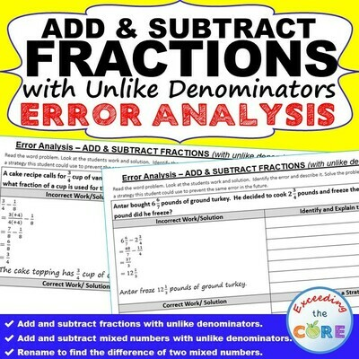 ADD & SUBTRACT FRACTIONS (UNLIKE DENOMINATORS) Error Analysis - Find the Error