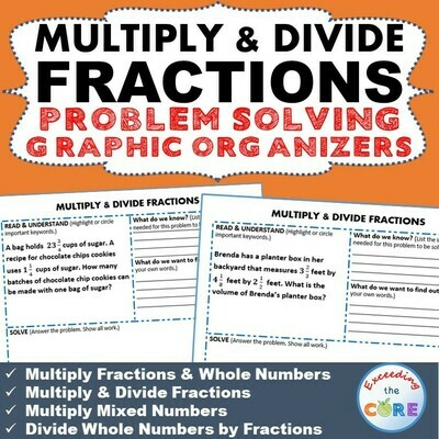 MULTIPLY AND DIVIDE FRACTIONS Word Problems with Graphic Organizer