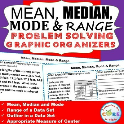 MEAN, MEDIAN, MODE, & RANGE Word Problems with Graphic Organizer