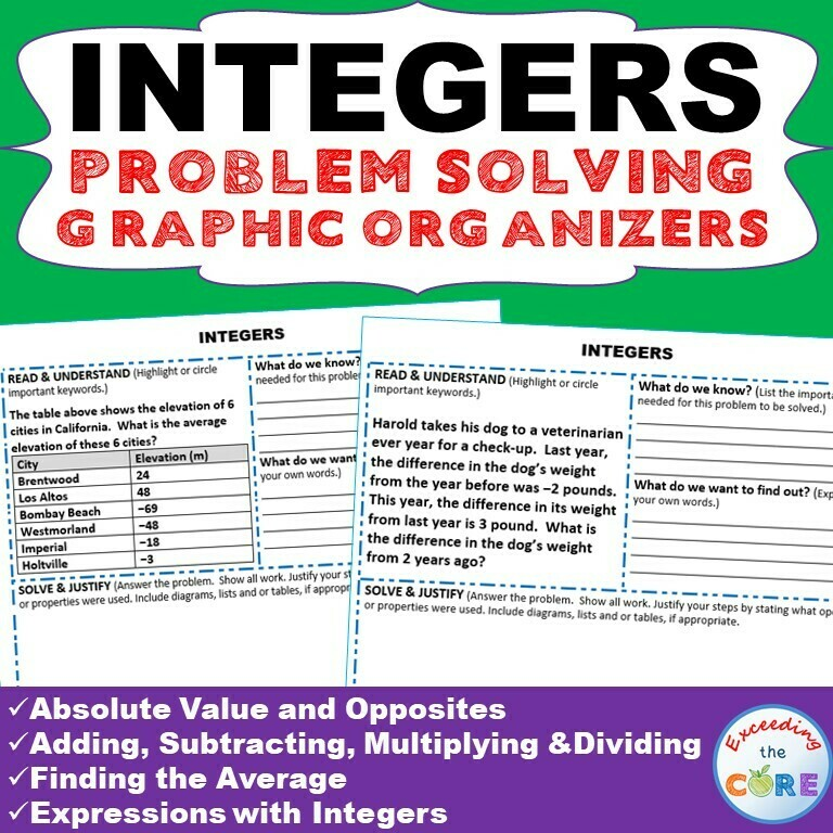 INTEGERS WORD PROBLEMS with Graphic Organizer