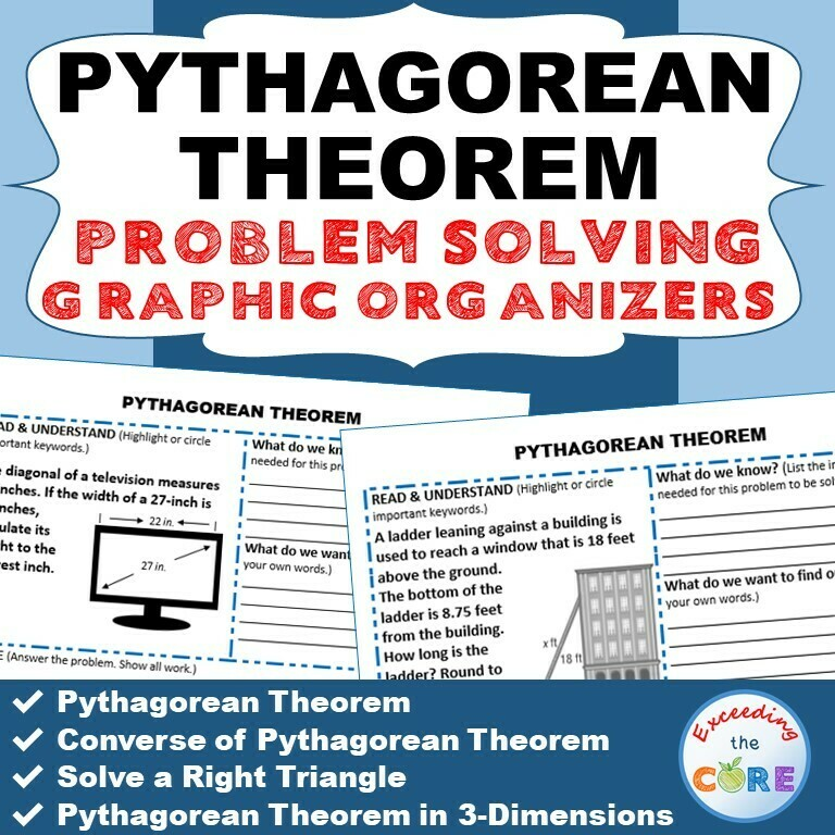 PYTHAGOREAN THEOREM Word Problems with Graphic Organizer
