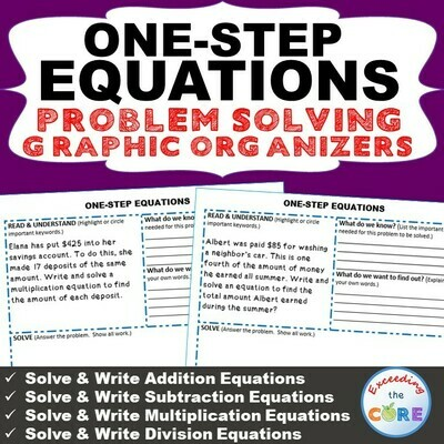 ONE-STEP EQUATIONS Word Problems with Graphic Organizer