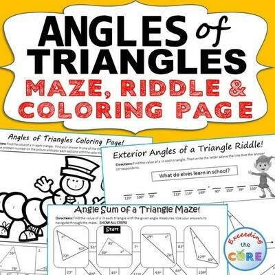 ANGLES OF TRIANGLES Maze, Riddle, & Color by Number (Fun MATH Activities)