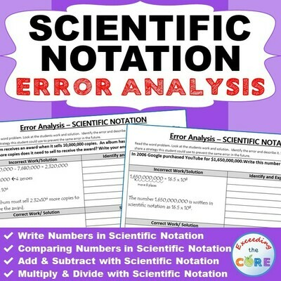 SCIENTIFIC NOTATION Word Problems - Error Analysis (Find the Error)