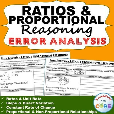 RATIOS & PROPORTIONAL REASONING Word Problems Error Analysis (Find the Error)