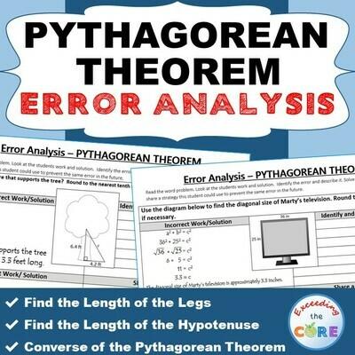 PYTHAGOREAN THEOREM Word Problems - Error Analysis (Find the Error)