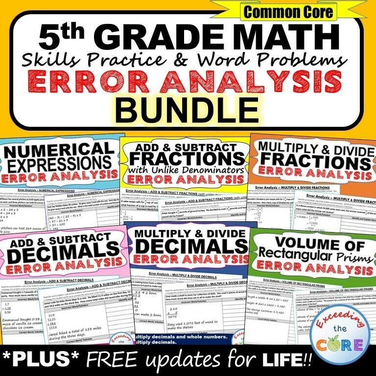 5th Grade Math ERROR ANALYSIS (Find the Error) BUNDLE