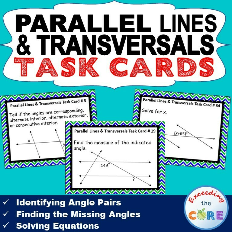 PARALLEL LINES CUT BY A TRANSVERSAL - Task Cards {40 Cards}