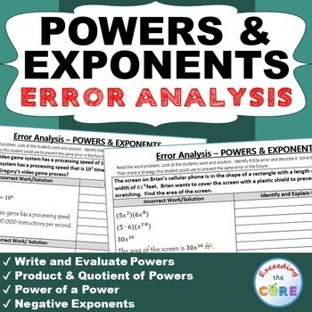POWERS AND LAW OF EXPONENTS Word Problems - Error Analysis (Find the Error)