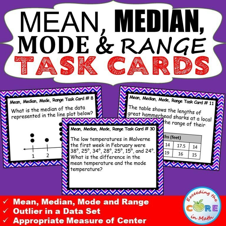 MEAN, MEDIAN, MODE, & RANGE Word Problems - Task Cards {40 Cards}