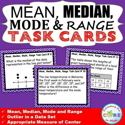 MEAN, MEDIAN, MODE, & RANGE Word Problems - Task Cards {40 Cards}