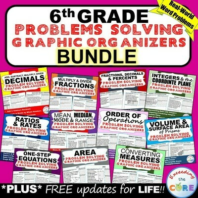 6th Grade Math WORD PROBLEMS Graphic Organizer BUNDLE