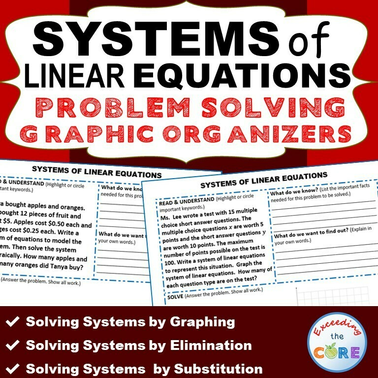 SYSTEMS OF LINEAR EQUATIONS Word Problems with Graphic Organizer