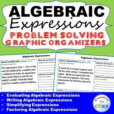 ALGEBRAIC EXPRESSIONS Word Problems with Graphic Organizers