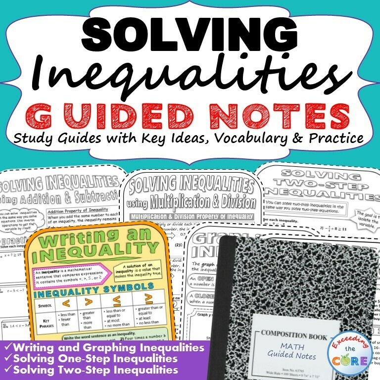 INEQUALITIES Doodle Math - Interactive Notebooks (Guided Notes)