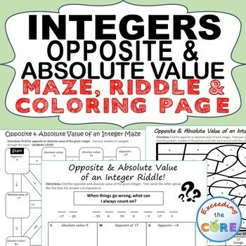 INTEGERS: OPPOSITE & ABSOLUTE VALUE Maze, Riddle, Color by Number Coloring Page