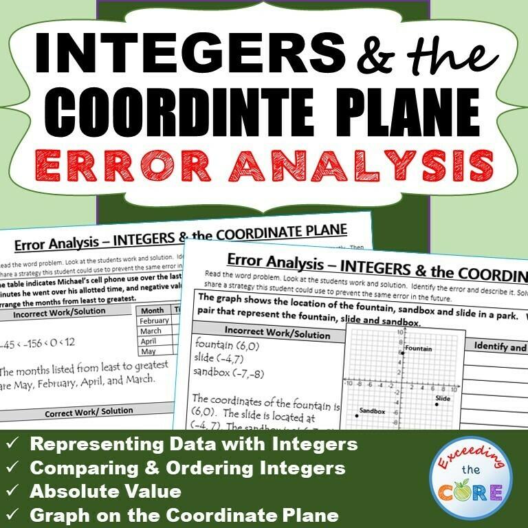 INTEGERS & the COORDINATE PLANE Word Problems - Error Analysis (Find the Error)