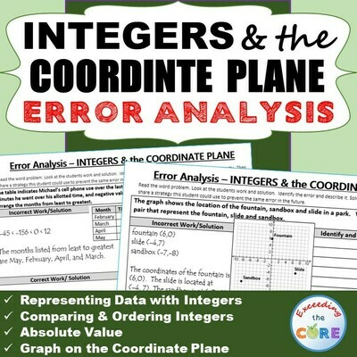 INTEGERS & the COORDINATE PLANE Word Problems - Error Analysis (Find the Error)