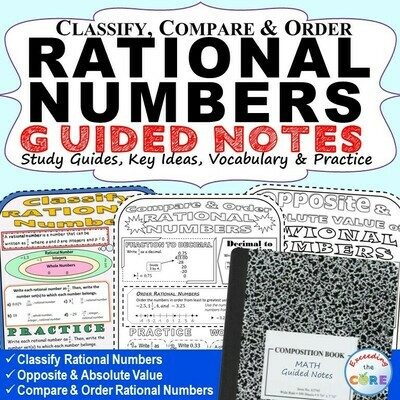 CLASSIFY & ORDER RATIONAL NUMBERS Doodle Math Interactive Notebooks Guided Notes