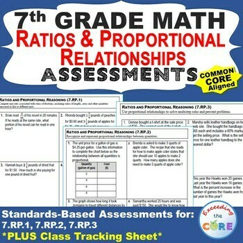 7th Grade RATIOS & PROPORTIONAL RELATIONSHIPS Assessments (7.RP) Common Core