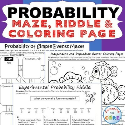 PROBABILITY Maze, Riddle, Color by Number Coloring Page (Fun MATH Activities)