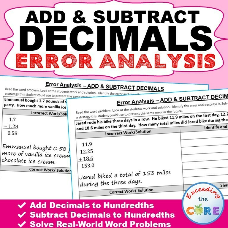 ADD AND SUBTRACT DECIMALS Error Analysis - Find the Error