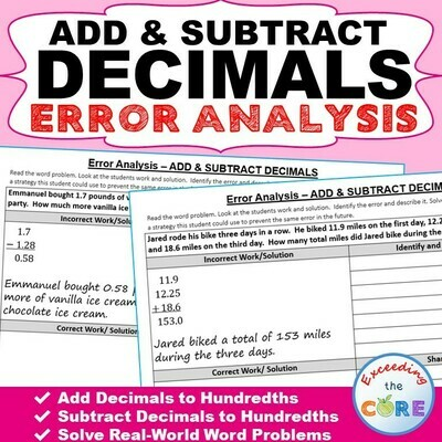 ADD AND SUBTRACT DECIMALS Error Analysis - Find the Error