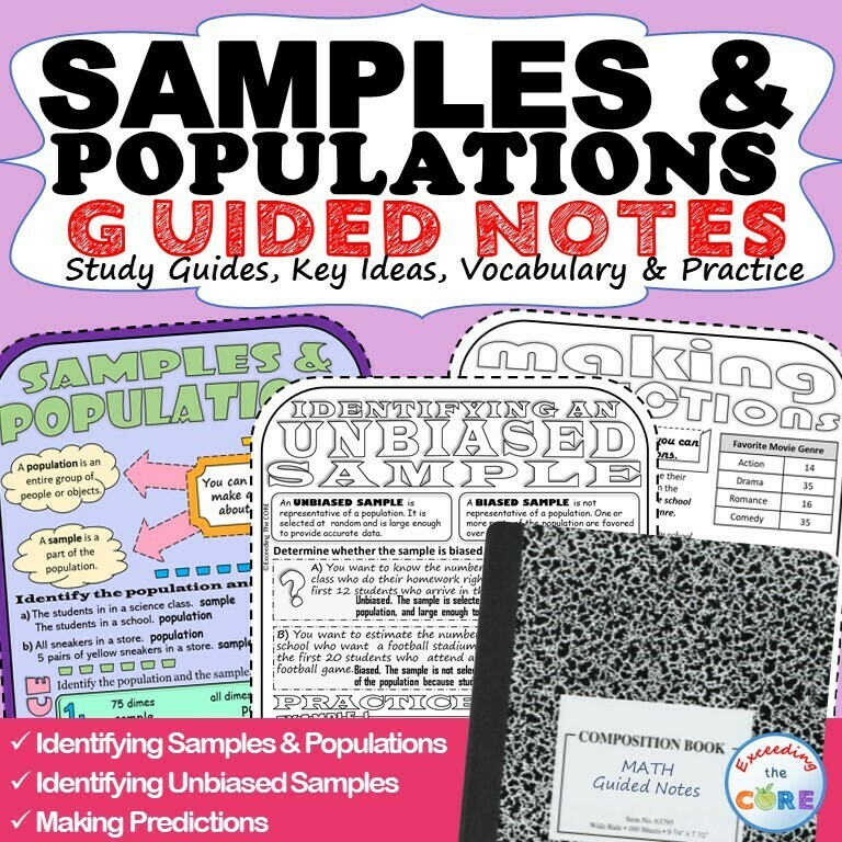 SAMPLES & POPULATIONS Doodle Math - Interactive Notebooks (Guided Notes)