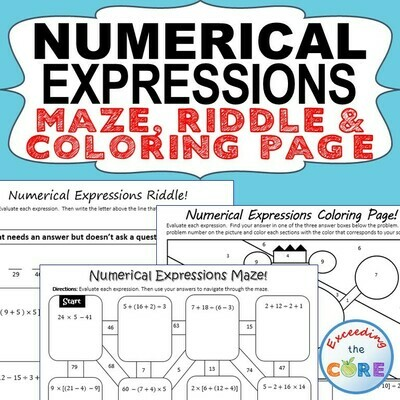 NUMERICAL EXPRESSIONS Maze, Riddle, Color by Number (Fun MATH Activities)