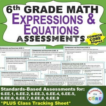 6th Grade EXPRESSIONS AND EQUATIONS Assessments (6.EE) Common Core