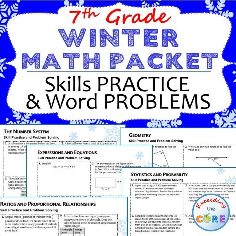 7th Grade WINTER / December MATH PACKET - { COMMON CORE Assessment }