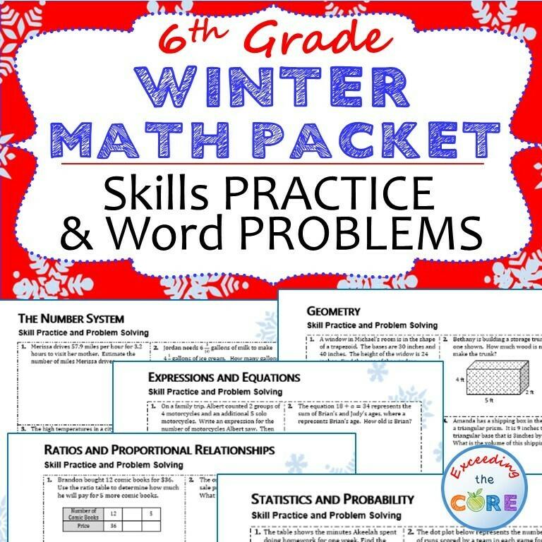 6th Grade WINTER / December MATH PACKET - { COMMON CORE Assessment }