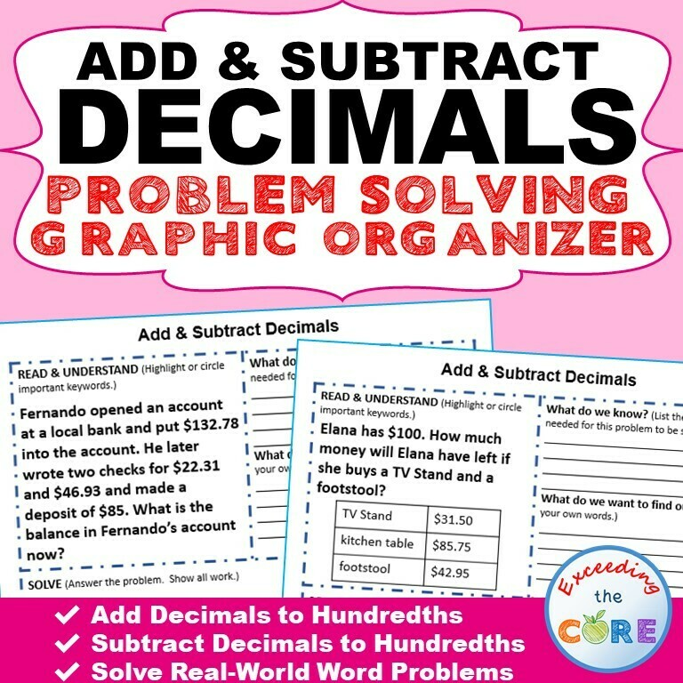 ADD AND SUBTRACT DECIMALS Word Problems with Graphic Organizers