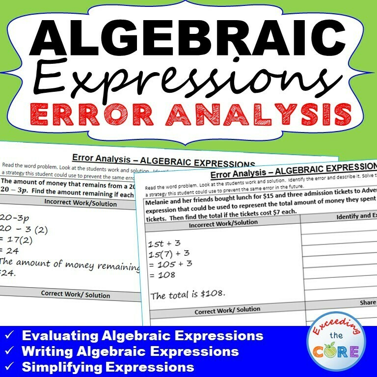 ALGEBRAIC EXPRESSIONS Error Analysis - Find the Error