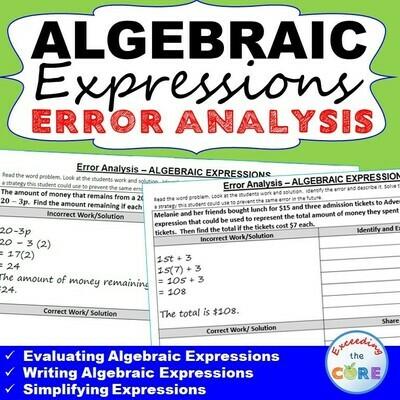 ALGEBRAIC EXPRESSIONS Error Analysis - Find the Error