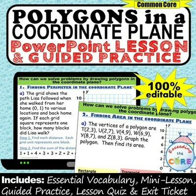 POLYGONS IN THE COORDINATE PLANE (perimeter / area) PowerPoint Lesson & Practice
