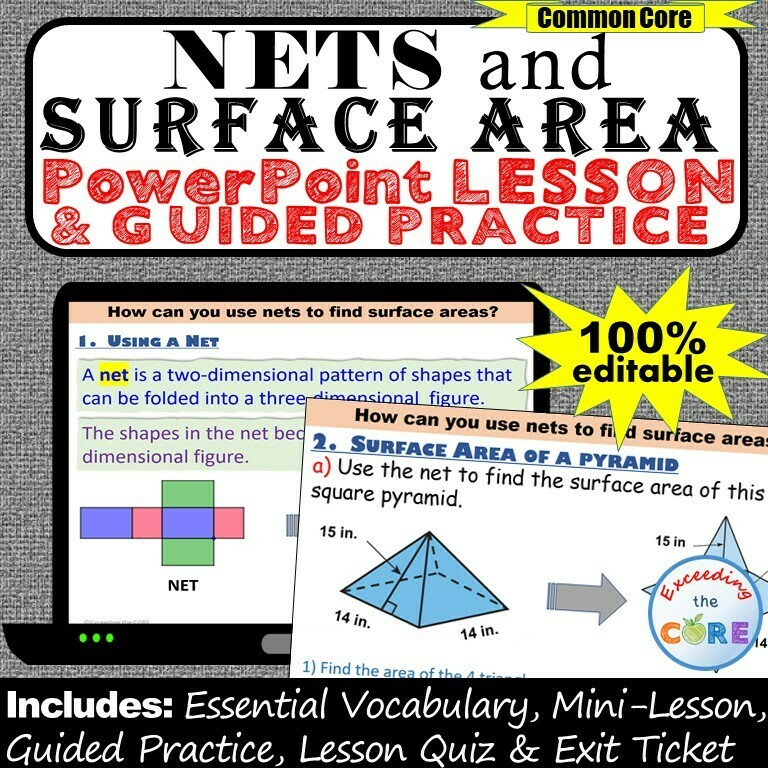 NETS AND SURFACE AREA PowerPoint Lesson AND Guided Practice