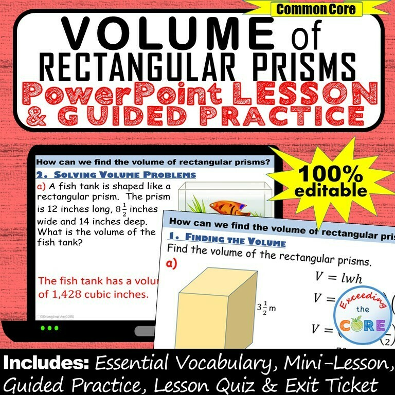 VOLUME OF RECTANGULAR PRISMS PowerPoint Lesson AND Guided Practice