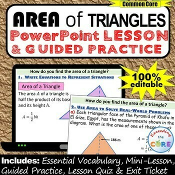 AREA OF TRIANGLES PowerPoint Lesson AND Guided Practice