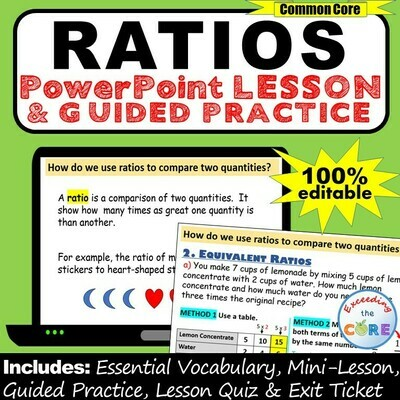 WRITING RATIOS & EQUIVALENT RATIOS PowerPoint Lesson & Guided Practice