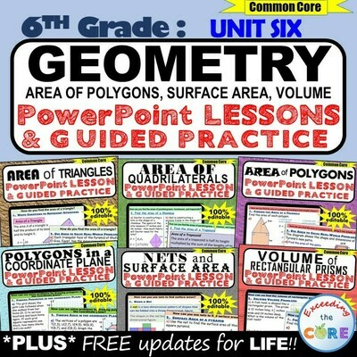 GEOMETRY : 6th Grade PowerPoint Lessons BUNDLE
