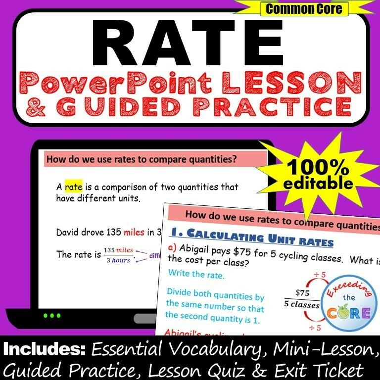 UNIT RATE, UNIT PRICE, EQUIVALENT RATE PowerPoint Lesson
