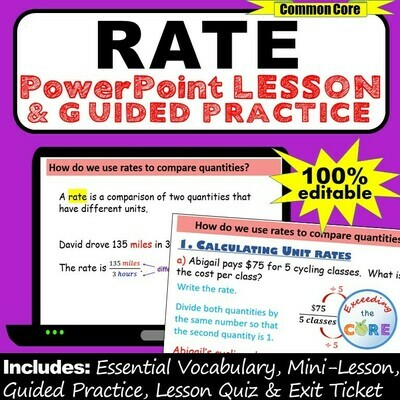 UNIT RATE, UNIT PRICE, EQUIVALENT RATE PowerPoint Lesson